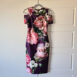 Calvin Klein Purple Floral Cold Shoulder Dress